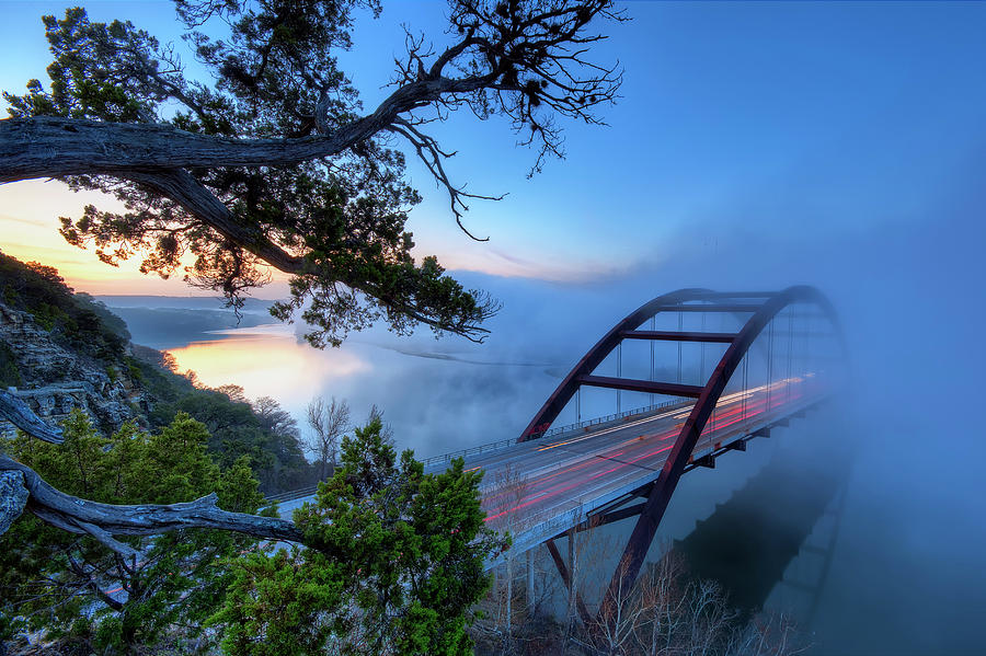 Horizontal Photograph - Pennybacker Bridge In Morning Fog by Evan Gearing Photography