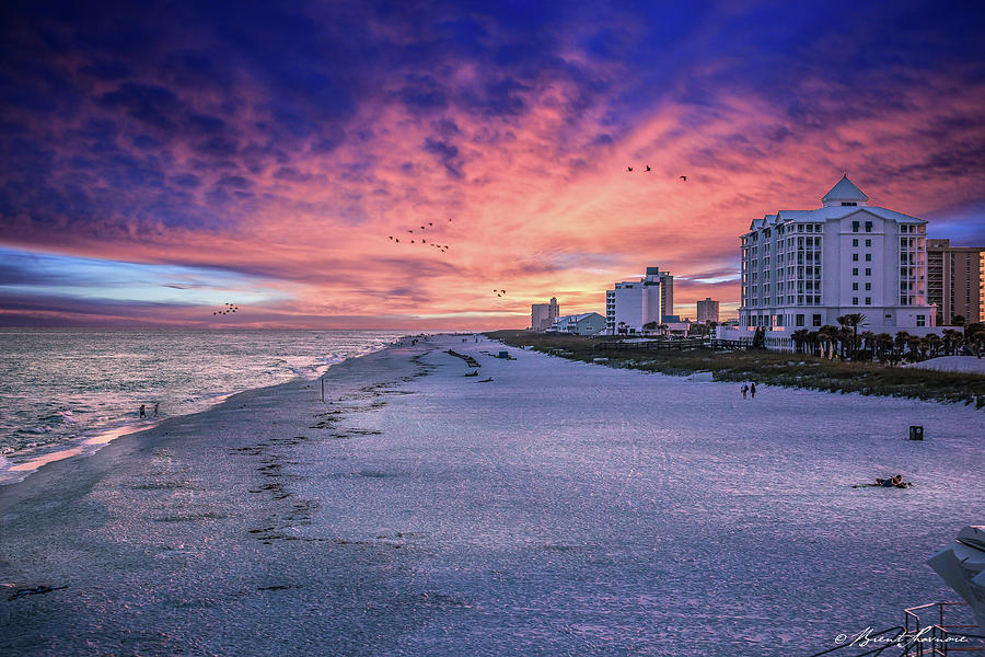 Pensacola Beach Vibrant Sunset Digital Art by Brent Shavnore