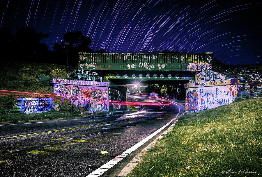 Pensacola Graffiti Bridge Star Trails Digital Art by Brent Shavnore