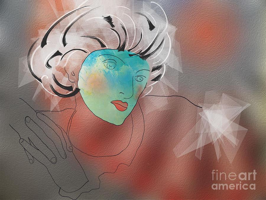 Bleu Digital Art - Pensees by Degouges Cindy