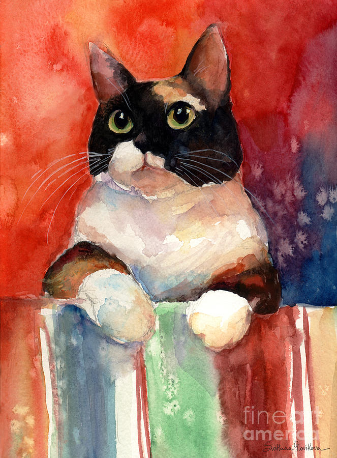 Pensive Calico Tubby Cat watercolor painting by Svetlana Novikova