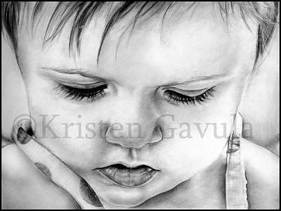 Little Girl Drawing - Pensive by Kristen Gavula