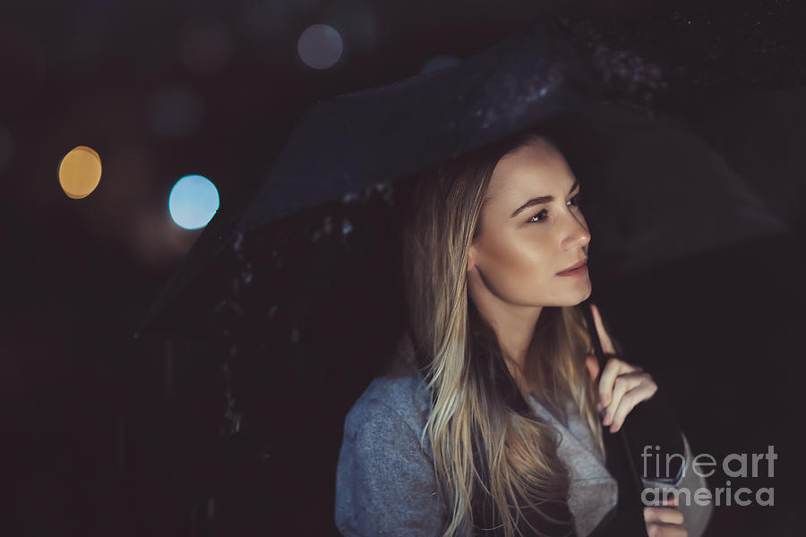 Adult Photograph - Pensive Woman Outdoors In Rainy Night by Anna Om