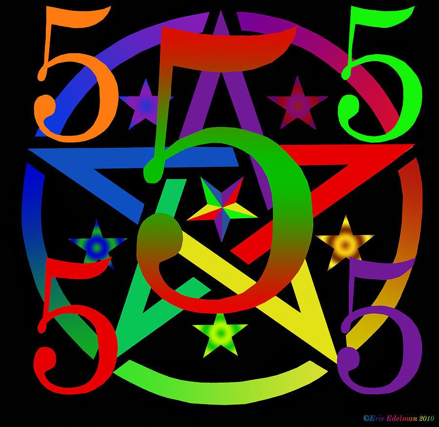 Pentagram Digital Art - Penta Pentacle In Black by Eric Edelman