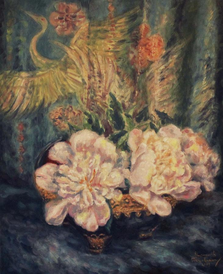 Peonies and Indigo Silk by Sompaseuth Chounlamany