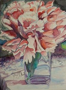 Floral Still Life Painting - Peonies And Lace by Sue Steiner