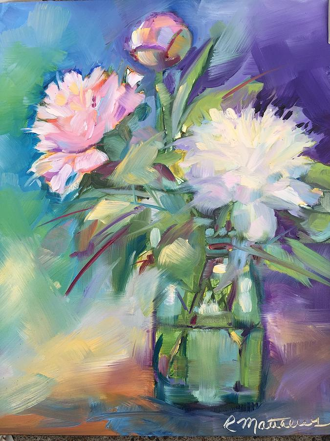 Peonies in jar by Rebecca Matthews