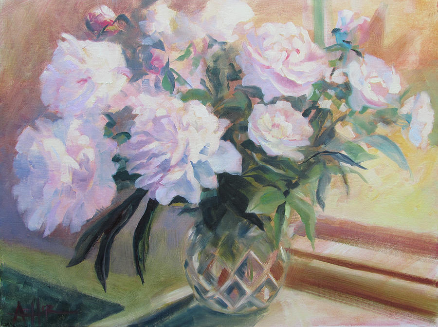 Peony Painting - Peonies in the Cut Glass Vase by Azhir Fine Art