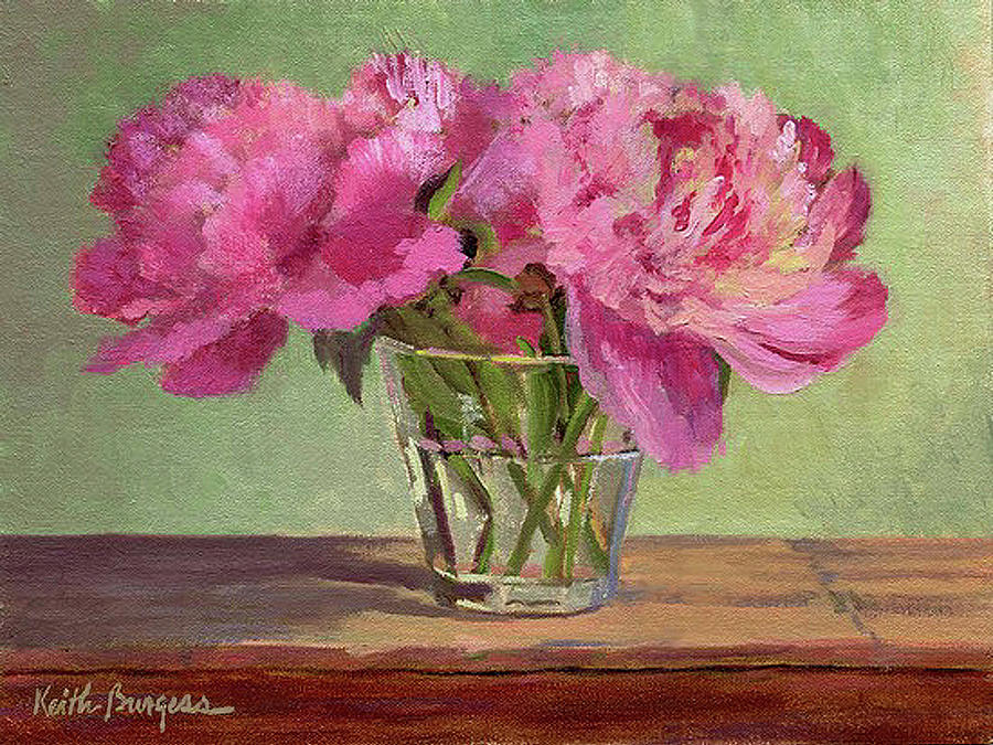 Still Painting - Peonies In Tumbler by Keith Burgess