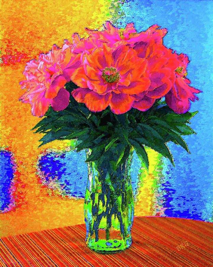 Floral Still Life Digital Art - Peonies In Vase Pop Art by Ben and Raisa Gertsberg