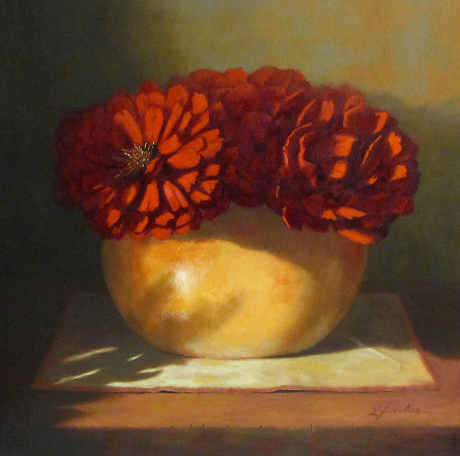 Red Flowers Painting - Peonies by Linda Jacobus