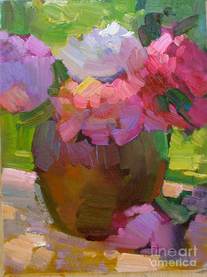 Marsha Painting - Peonies by Marsha Heimbecker