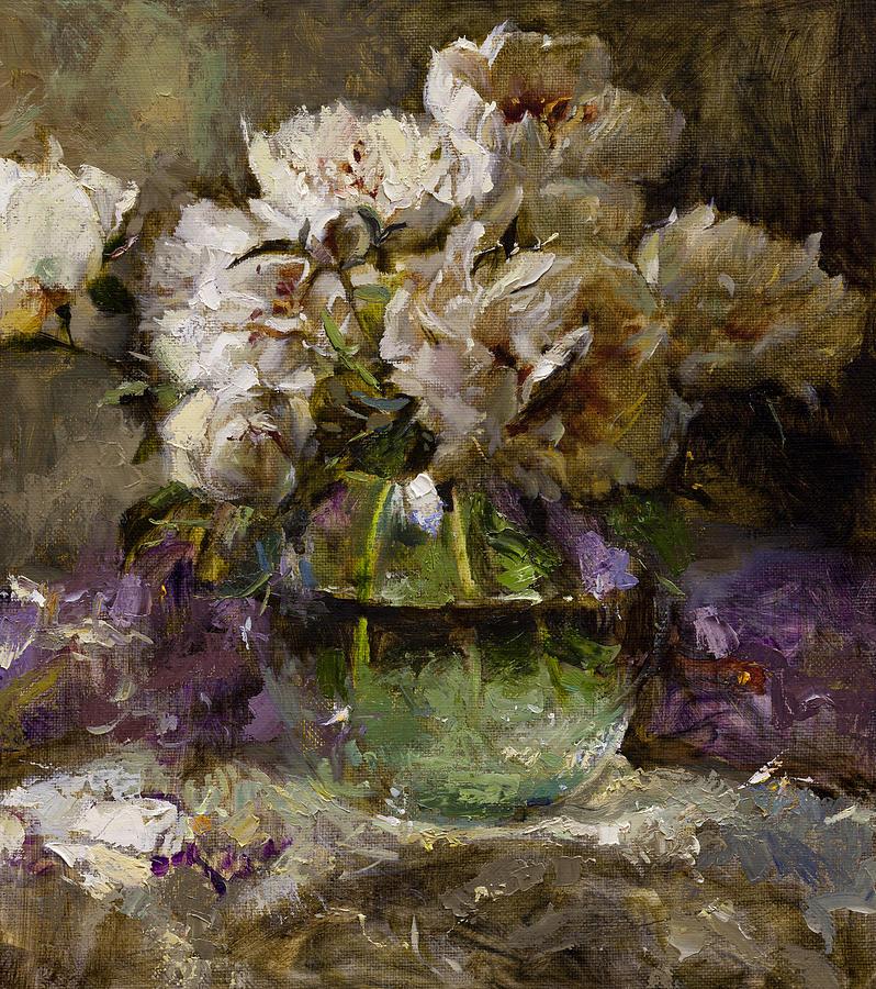 Peony Painting - Peonies by Oleg Trofimoff