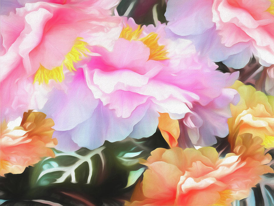 Peonies on Zebra Leaves Soft by Lynda Lehmann