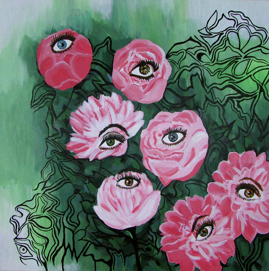 Flowers Painting - Peonies with Eyes by Staci Johnson