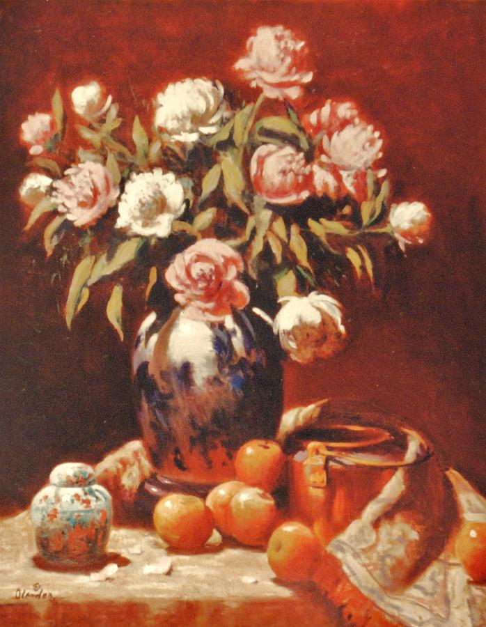 Peonies With Ginger Jar Painting by David Olander