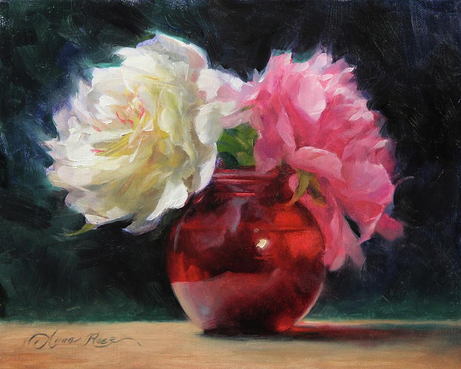 Peonies Painting - Peonies with Red Vase by Anna Rose Bain