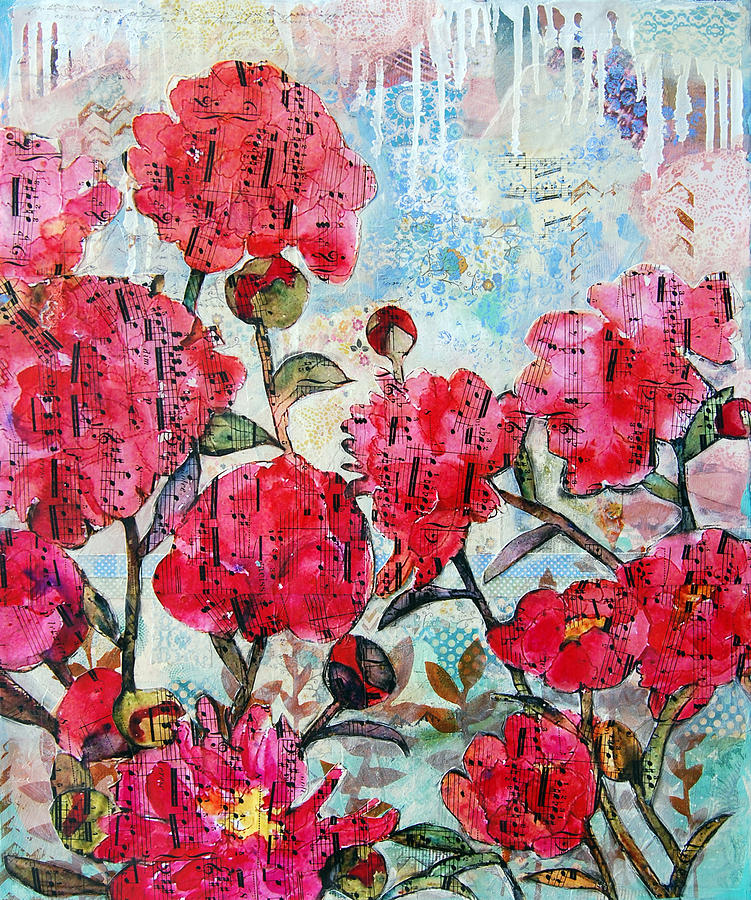 Peony Painting - Peony Art Mixed Media Collage Art Floral Print Fine Art Print Peony Polka by Miriam  Schulman