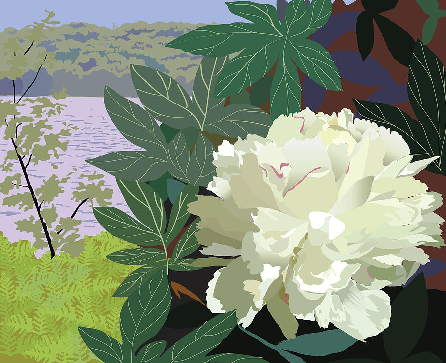 Floral Painting - Peony by the Lake by Marian Federspiel