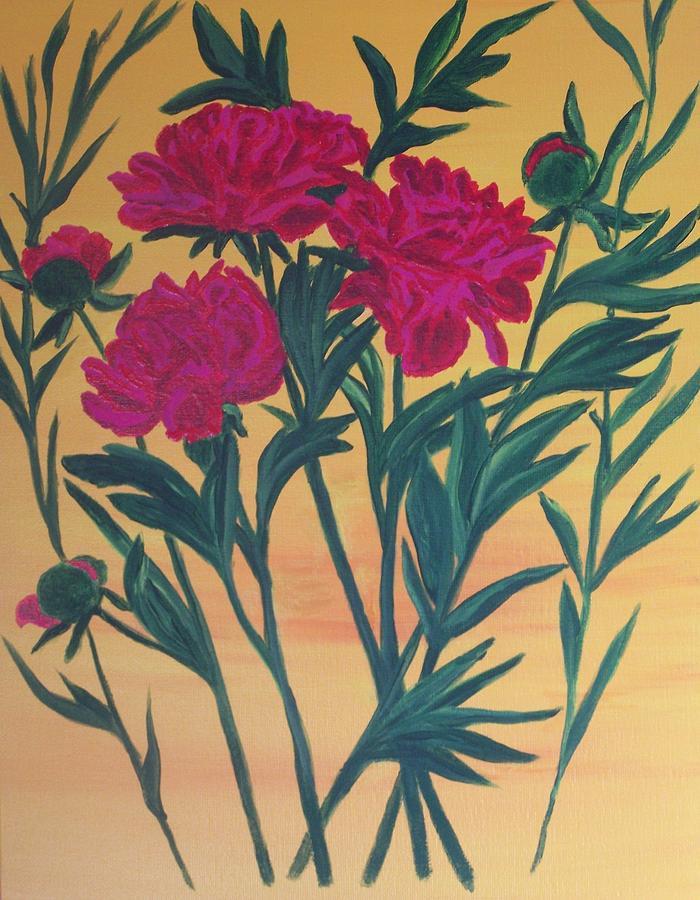 Red Painting - Peony  by Elizabeth Janus