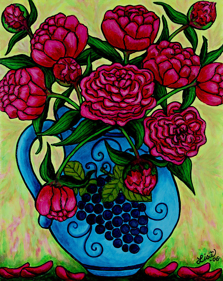 Peonies Painting - Peony Party by Lisa  Lorenz