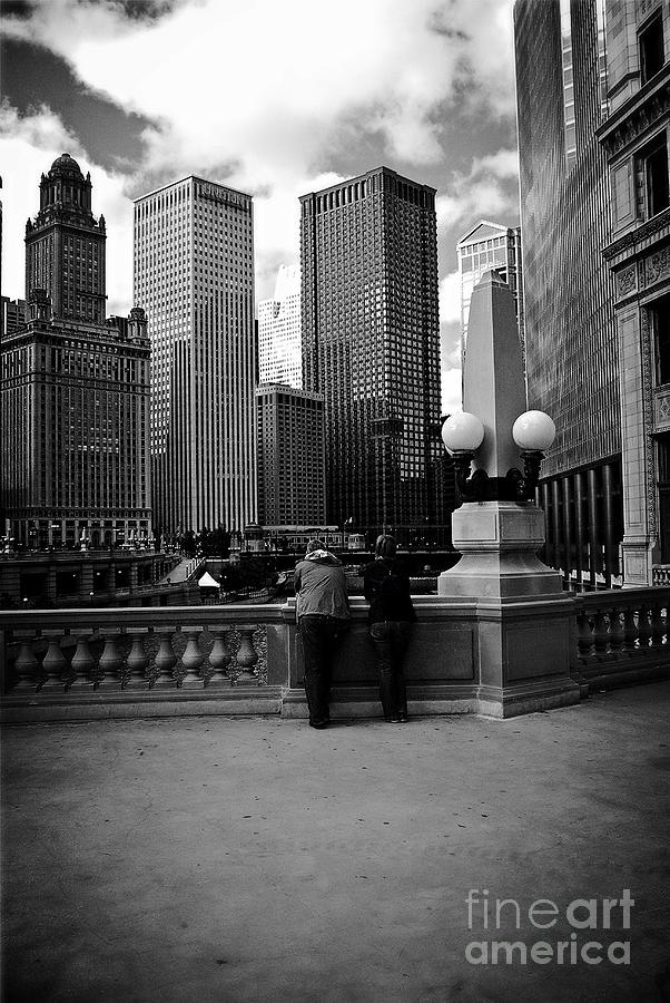 Monochrome Photograph - People And Skyscrapers by Frank J Casella