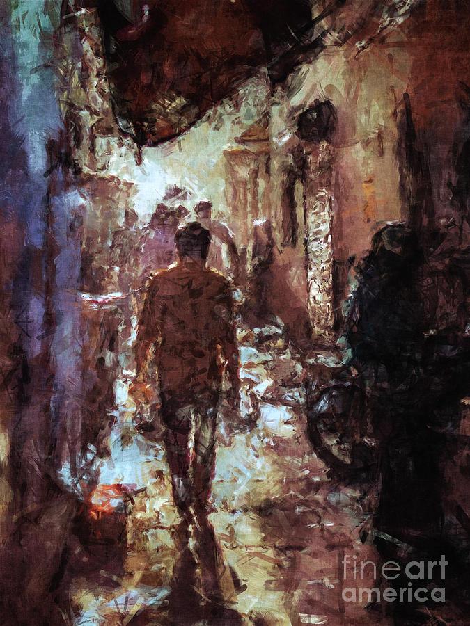 Alley Digital Art - People In Alley by Phil Perkins