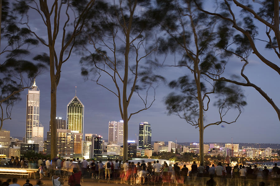 Horizontal Photograph - People In Kings Park Watching Fireworks On Australia Day With Perth Skyline In Background by Orien Harvey