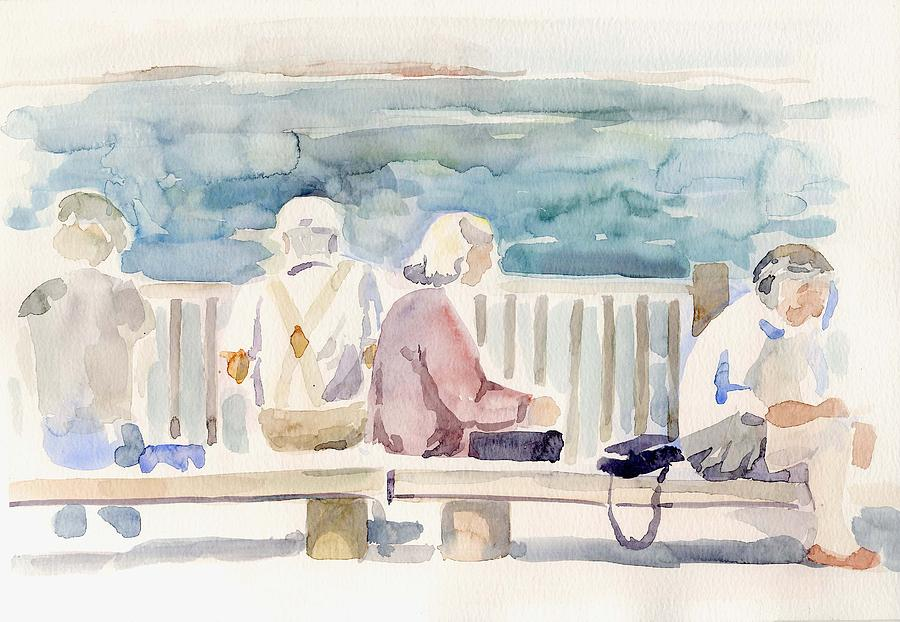 Watercolor Painting - People On Benches by Linda Berkowitz