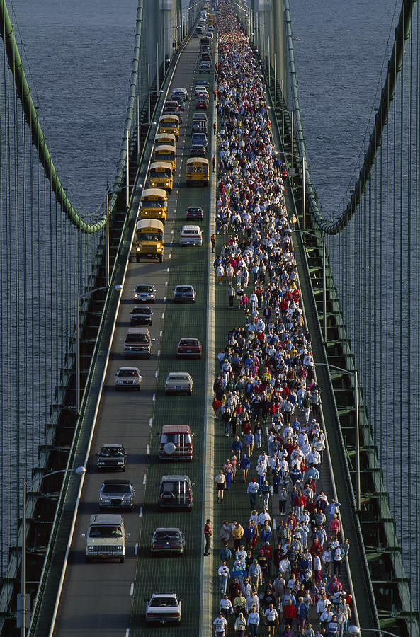 Mackinac Bridge Photograph - People Participating In The Annual by Phil Schermeister