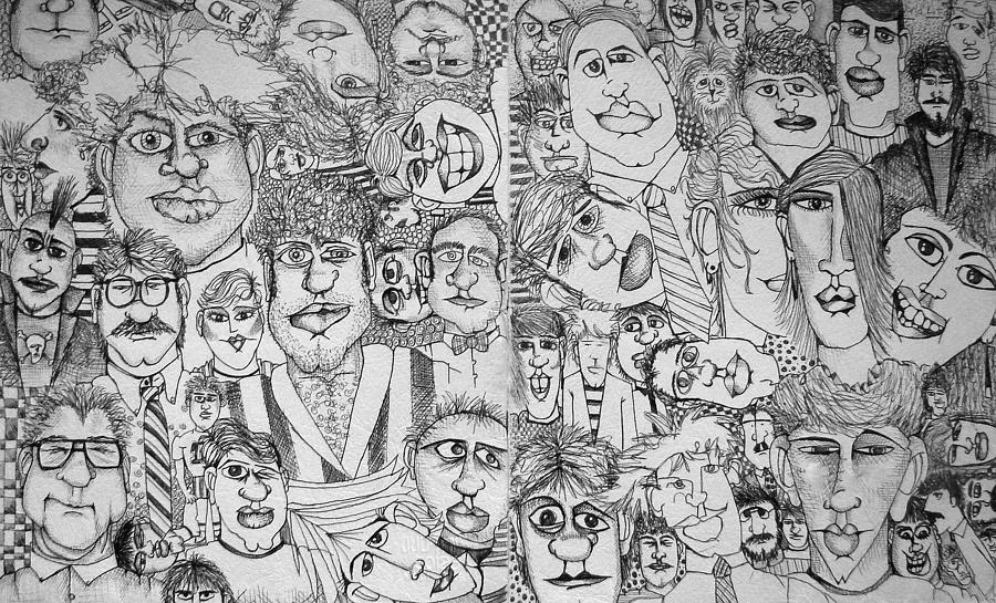 Faces Drawing - People People People by Michelle Calkins