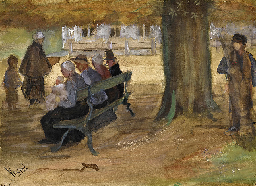 Vincent Van Gogh Drawing - People Sitting On A Bench In Bezuidenhout. The Hague by Vincent van Gogh