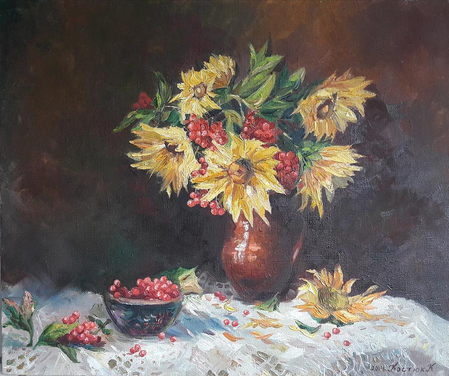 Still Life Painting -  Still-life With Sunflowers by Kateryna Kostiuk-Shostka