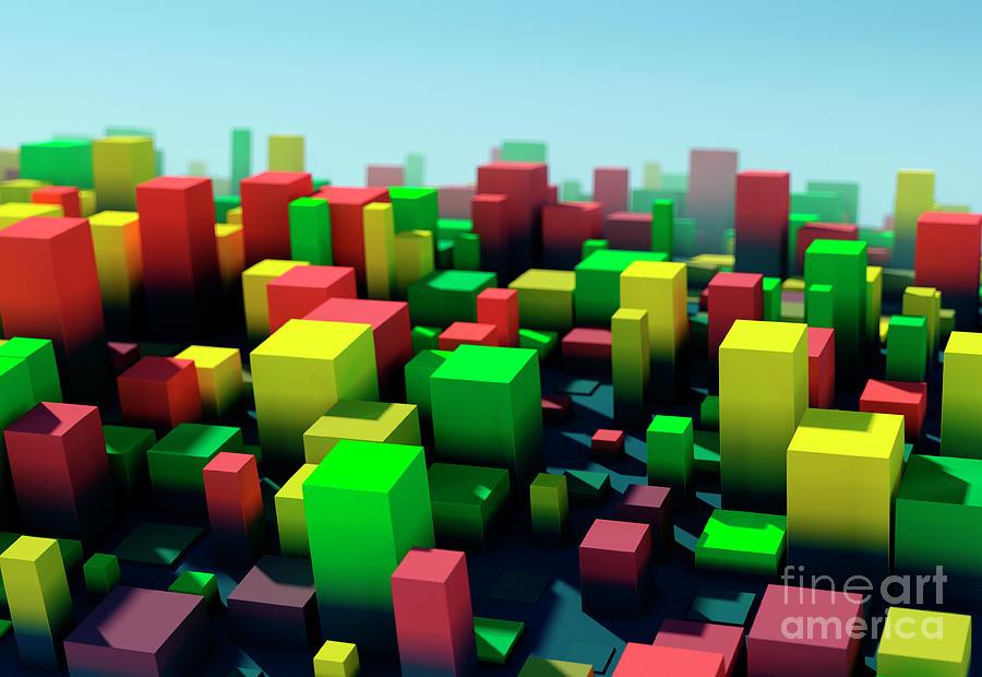 Design Digital Art - Pepper Square Variation Pattern Abstract 3D Cityscape DOF by Frank Ramspott
