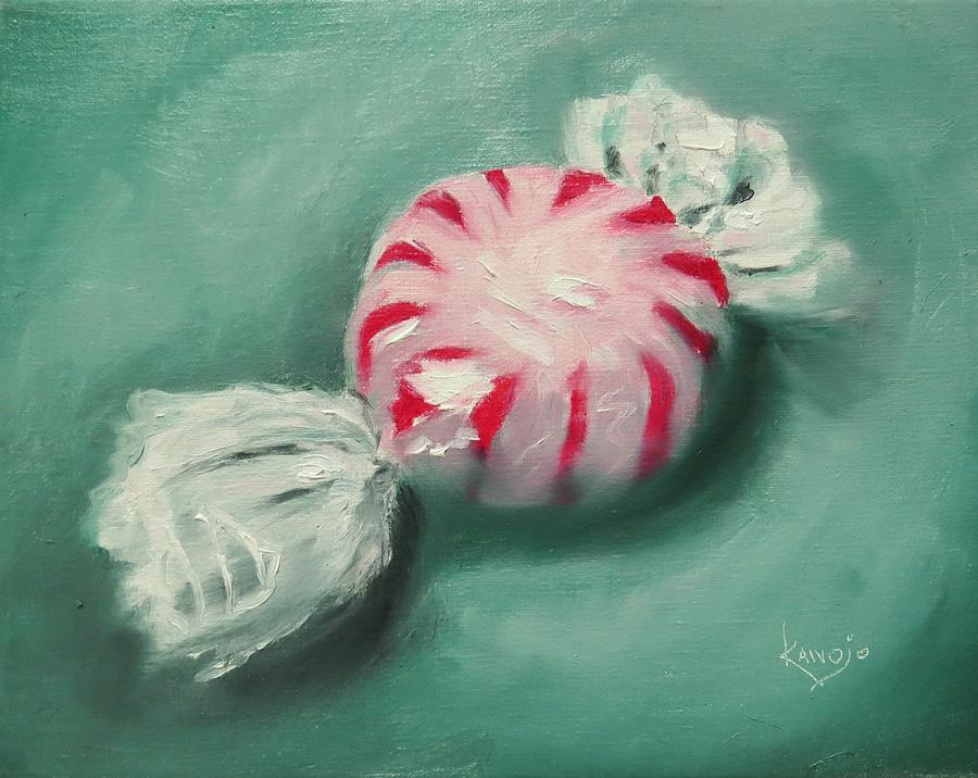 Contemporary Still Life Painting - Peppermint Candy by Wendy Winbeckler - Kanojo