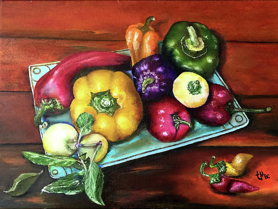 Still Life Painting - Peppers And A Turquoise Tray by Terry R MacDonald
