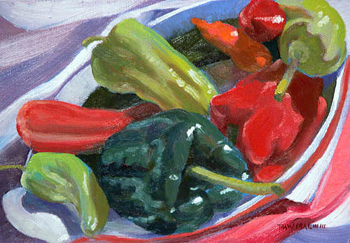 Still Life Painting - Peppers And Eggplant by Thaw Malin III