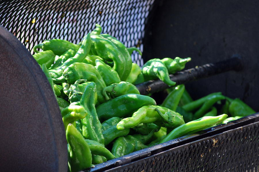 Green Photograph - Peppers Roasting. by Oscar Williams