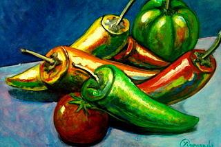 Peppers Painting by Yasemin Raymondo