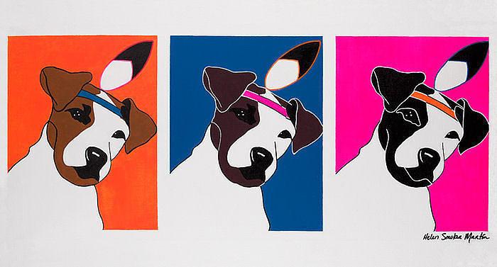 Jack Russell Painting - Per Capita Rez Dogs by Helen Smoker Martin