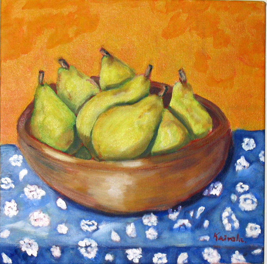 Pears Painting - Peras On A Wooden Bowl by William Kairala