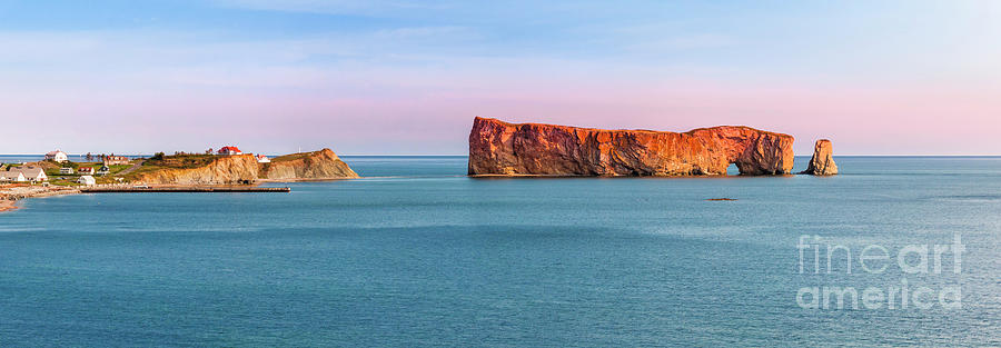 Perce Rock panorama at sunset by Elena Elisseeva
