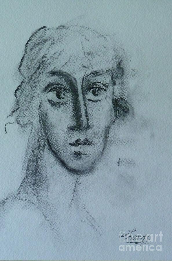 Woman Drawing - Perceptive by Ushangi Kumelashvili