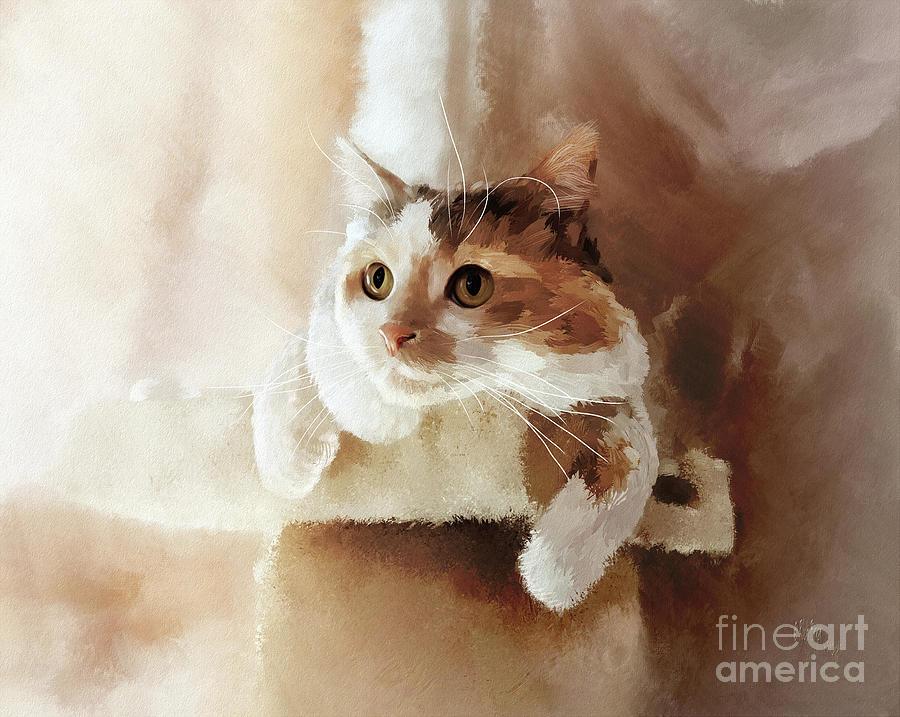 Cat Digital Art - Perched by Lois Bryan