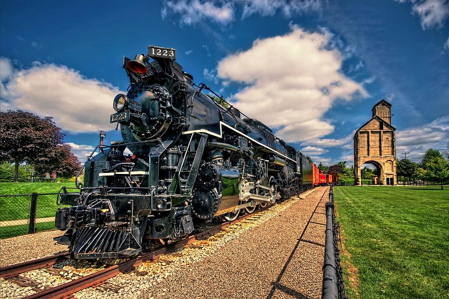 Bridge Photograph - Pere Marquette 1223 Locomotive with Coal Tower by Jeff S PhotoArt