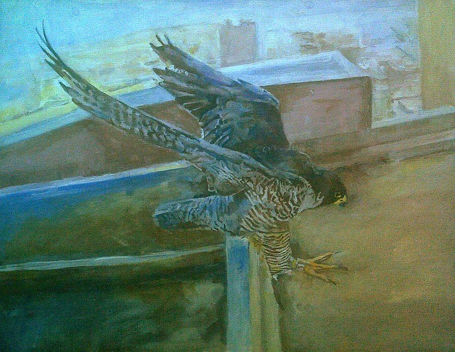 Peregrine Falcon About To Land by Rosanne Gartner