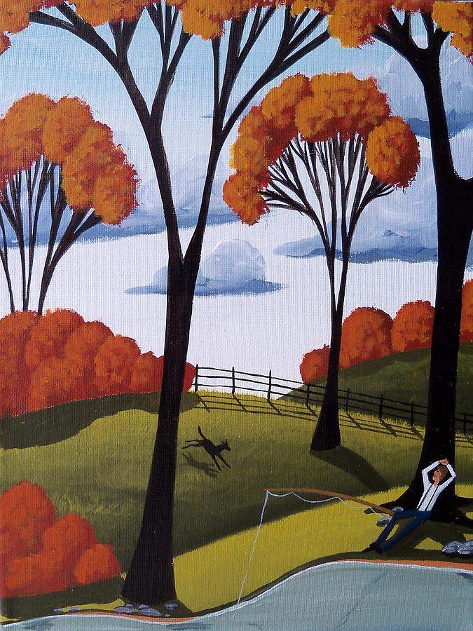 Perfect Afternoon Country Folk Art Landscape Painting By Debbie Criswell