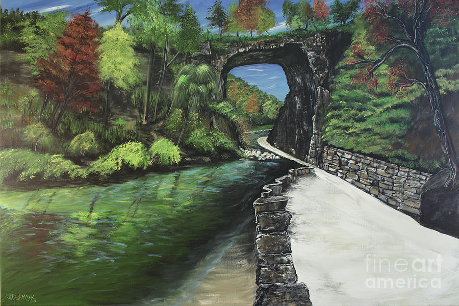 Natural Bridge Painting - Perfect Fall Day At Natural Bridge Virginia by Katie Adkins