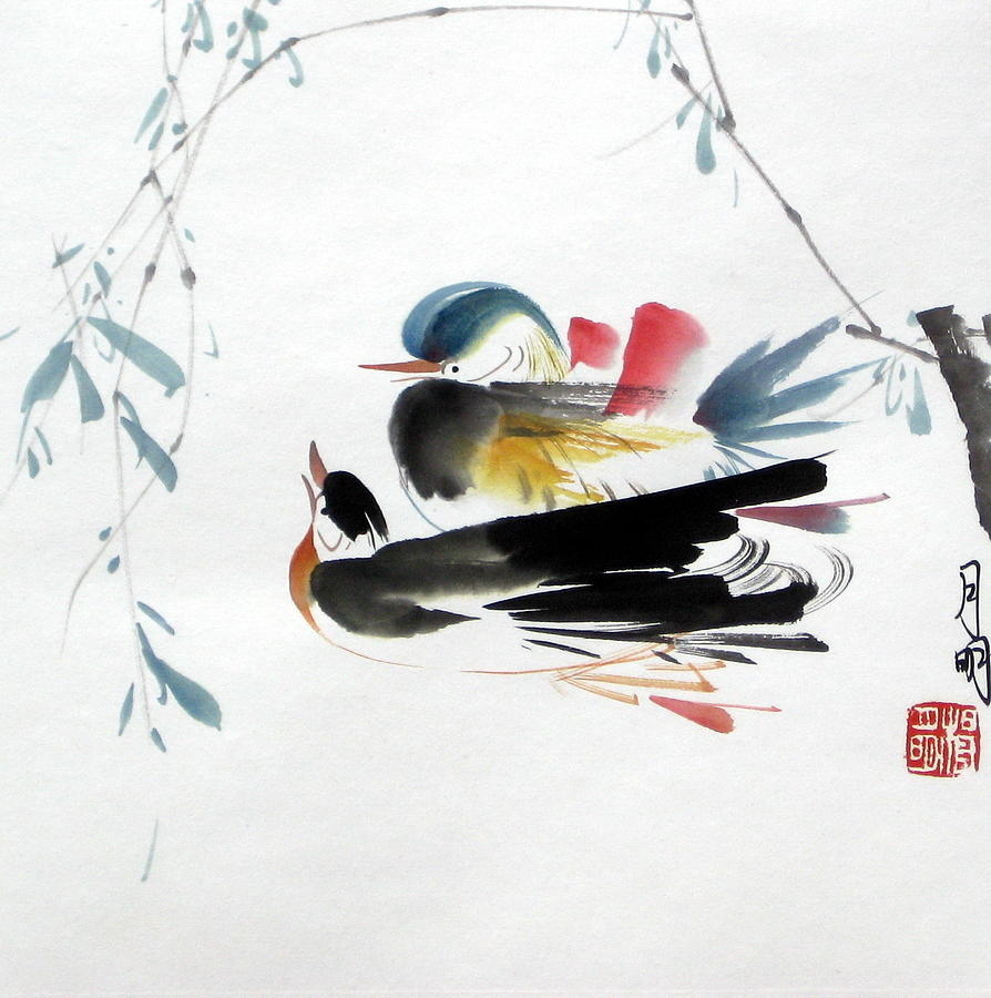Chinese Painting Painting - Perfect Match by Ming Yeung