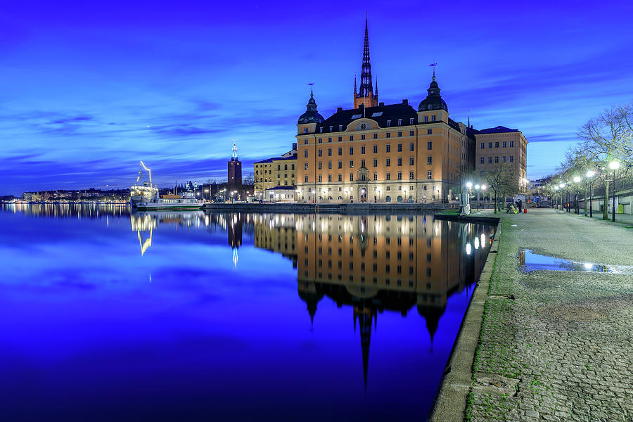 Stockholm Photograph - Perfect Riddarholmen Blue Hour Reflection by Dejan Kostic